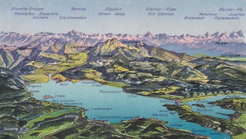 Old postcard from the Lake Constance region